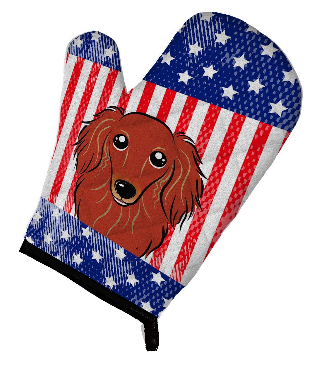 American Flag and Longhair Red Dachshund Oven Mitt BB2144OVMT by Caroline's Treasures
