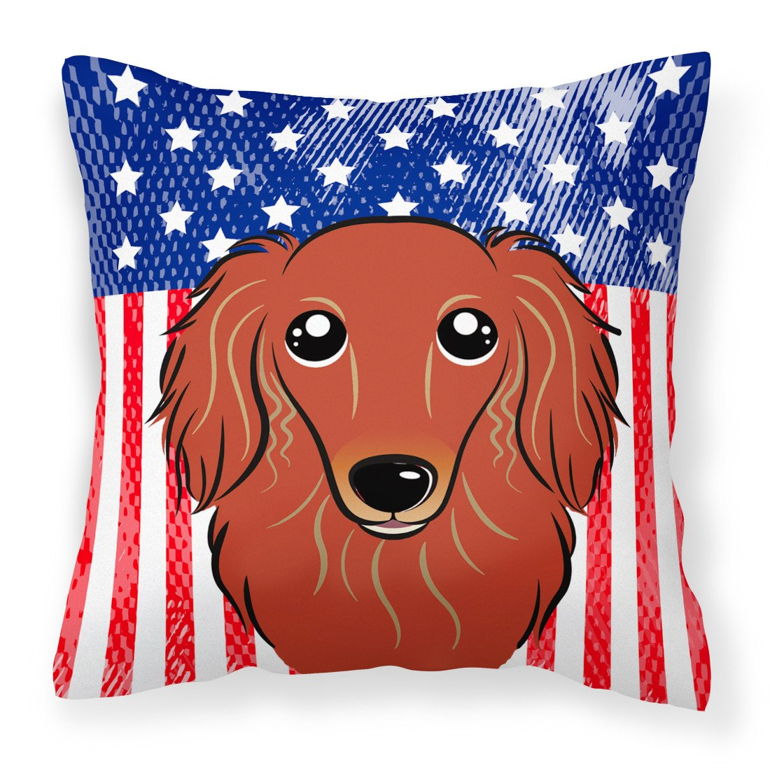 American Flag and Longhair Red Dachshund Fabric Decorative Pillow BB2144PW1414 - the-store.com