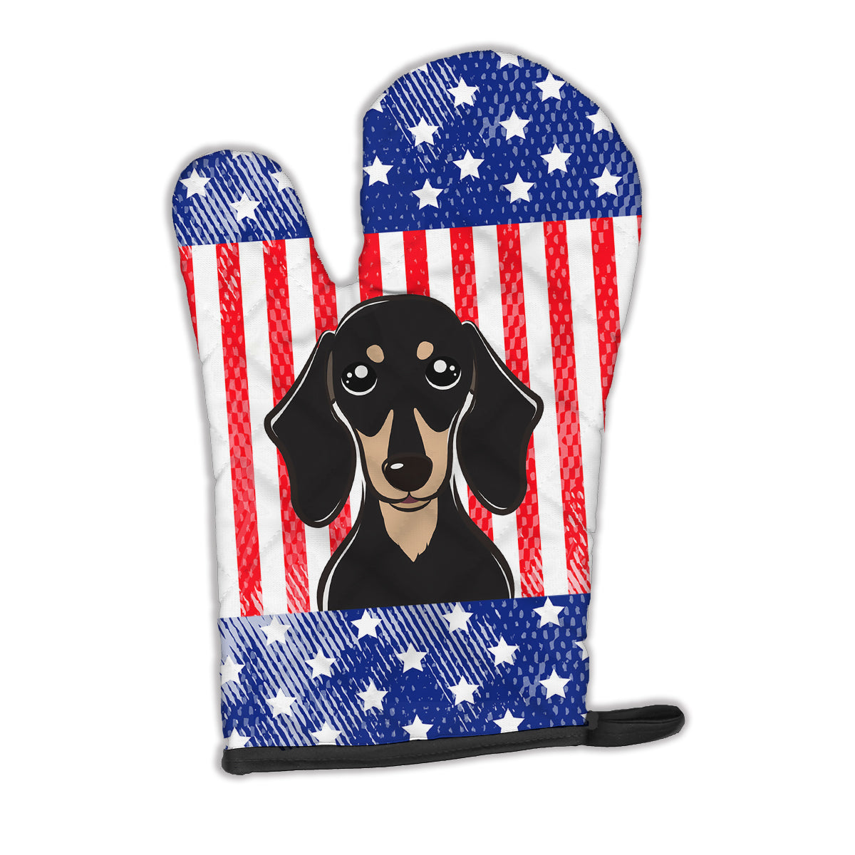 American Flag and Smooth Black and Tan Dachshund Oven Mitt BB2145OVMT by Caroline's Treasures
