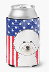 American Flag and Bichon Frise Can or Bottle Hugger BB2147CC by Caroline's Treasures