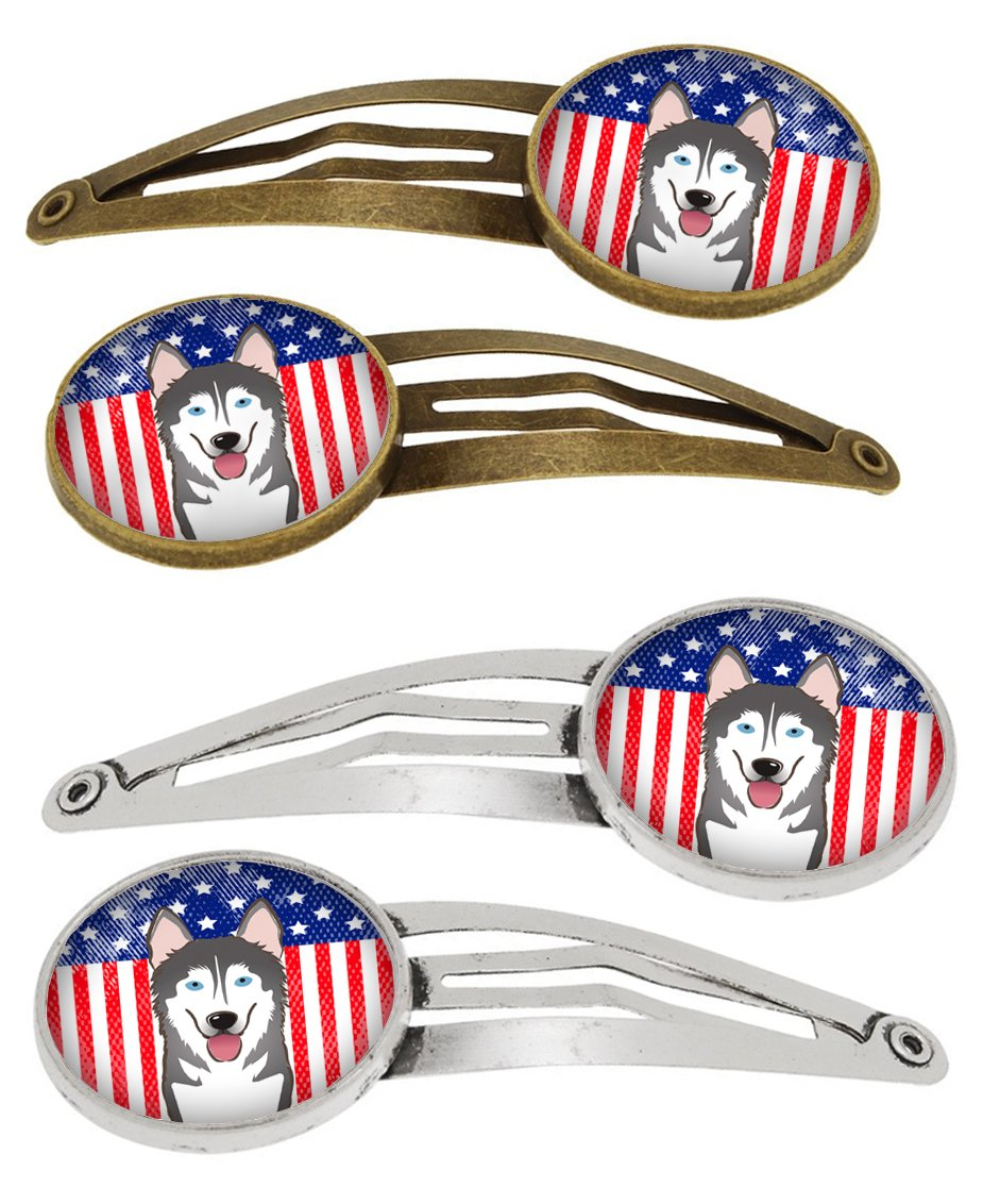 American Flag and Alaskan Malamute Set of 4 Barrettes Hair Clips BB2148HCS4 by Caroline's Treasures