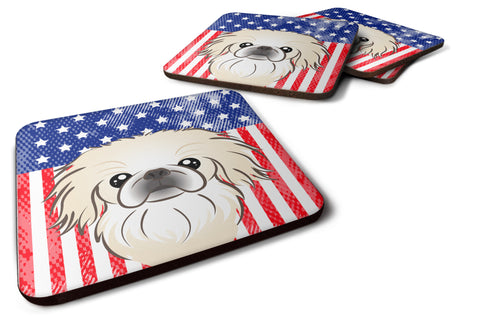 Buy this American Flag and Pekingese Foam Coaster Set of 4
