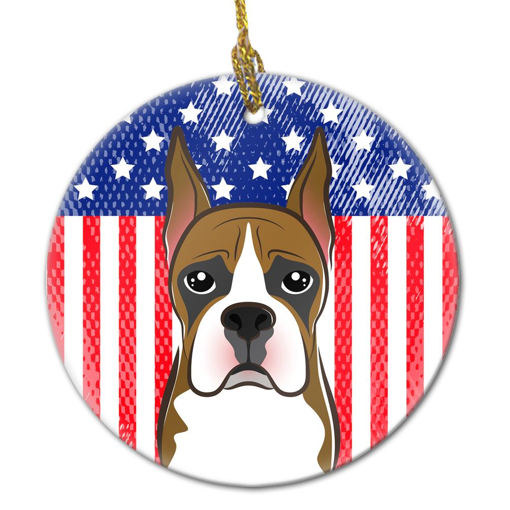 American Flag and Boxer Ceramic Ornament BB2153CO1 by Caroline's Treasures
