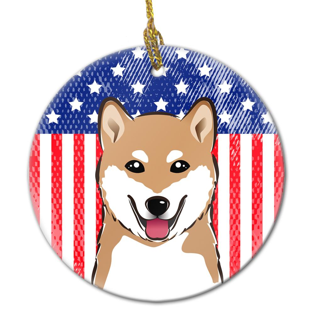 American Flag and Shiba Inu Ceramic Ornament BB2155CO1 by Caroline's Treasures