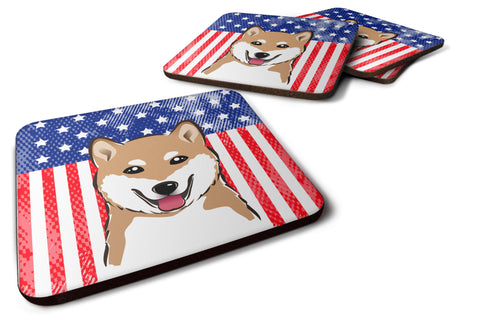 Buy this American Flag and Shiba Inu Foam Coaster Set of 4
