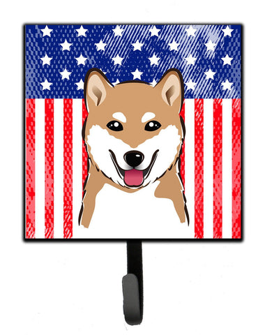 Buy this American Flag and Shiba Inu Leash or Key Holder BB2155SH4