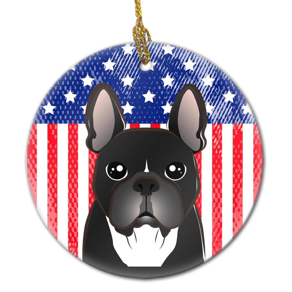 American Flag and French Bulldog Ceramic Ornament BB2157CO1 by Caroline's Treasures