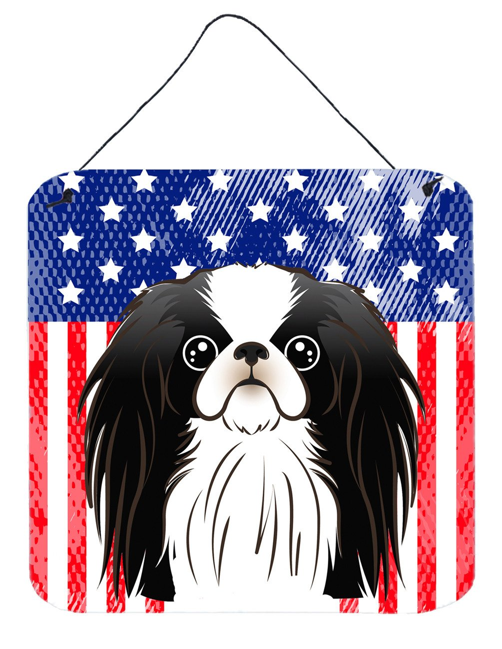 American Flag and Japanese Chin Wall or Door Hanging Prints BB2160DS66 by Caroline's Treasures