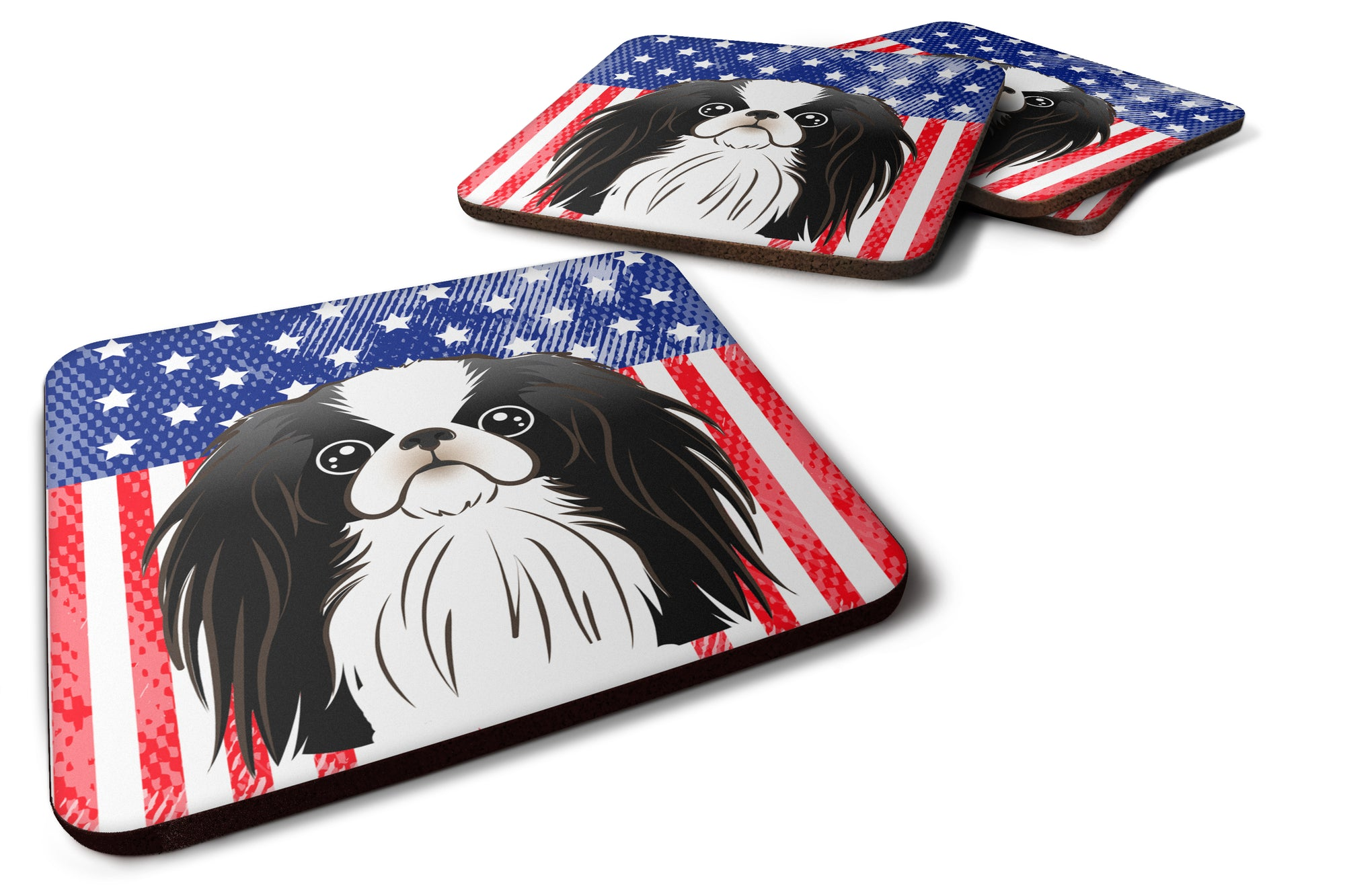 American Flag and Japanese Chin Foam Coaster Set of 4 by Caroline's Treasures