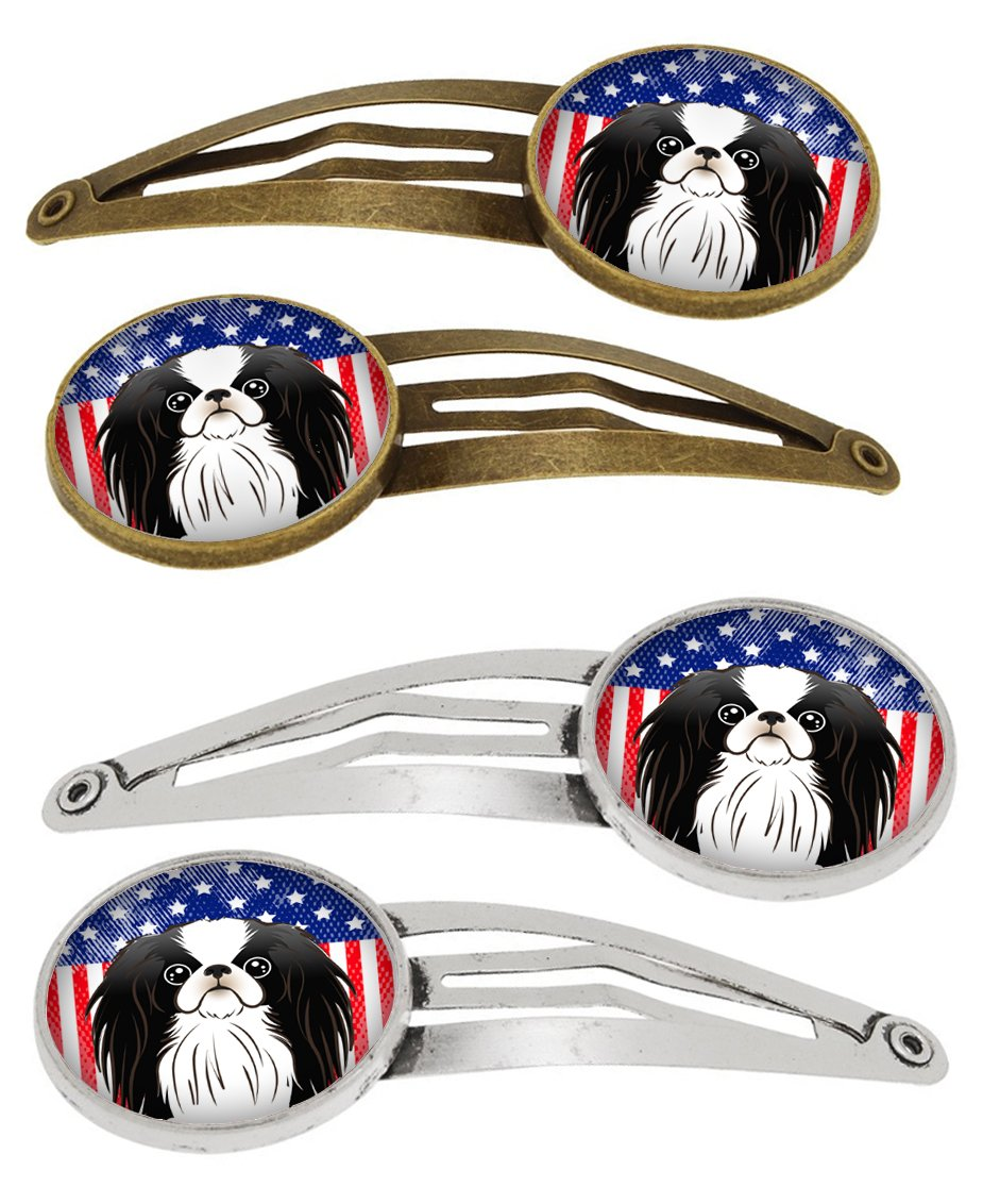American Flag and Japanese Chin Set of 4 Barrettes Hair Clips BB2160HCS4 by Caroline's Treasures