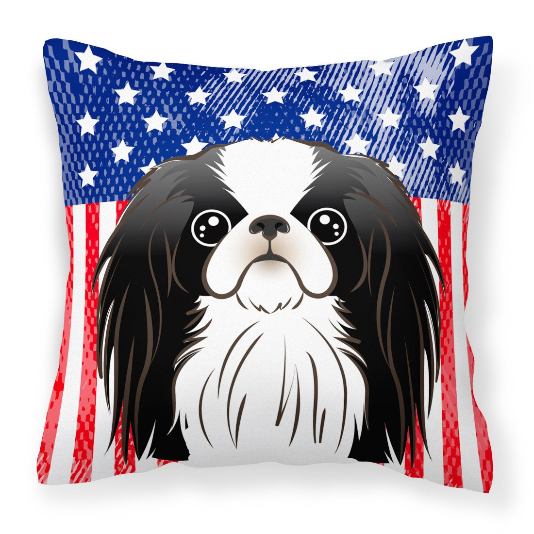 American Flag and Japanese Chin Fabric Decorative Pillow BB2160PW1414 - the-store.com