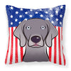 American Flag and Weimaraner Fabric Decorative Pillow BB2161PW1414 - the-store.com