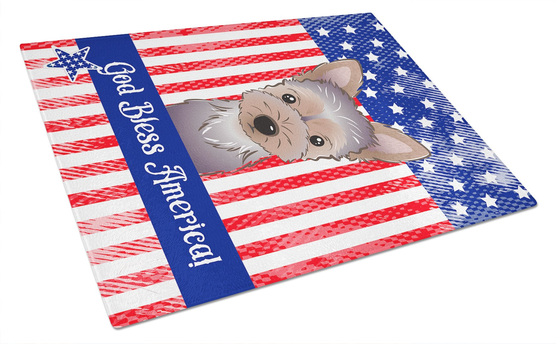 God Bless American Flag with Yorkie Puppy Glass Cutting Board Large BB2162LCB by Caroline's Treasures