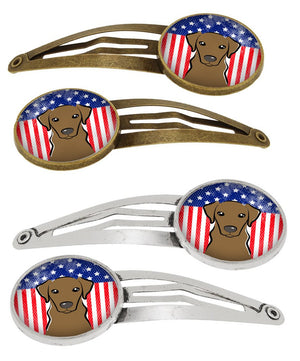 Buy this American Flag and Chocolate Labrador Set of 4 Barrettes Hair Clips BB2164HCS4