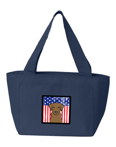 Buy this American Flag and Chocolate Labrador Lunch Bag BB2164NA-8808
