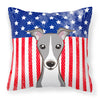 American Flag and Italian Greyhound Fabric Decorative Pillow BB2166PW1414 - the-store.com