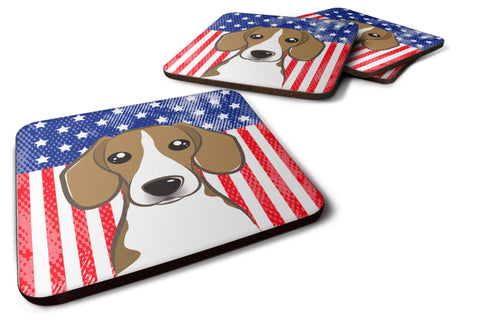 Buy this American Flag and Beagle Foam Coaster Set of 4