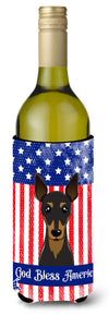 God Bless American Flag with Min Pin Wine Bottle Beverage Insulator Hugger BB2170LITERK by Caroline's Treasures