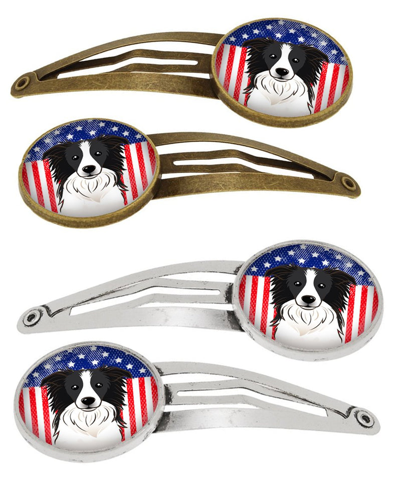 Buy this American Flag and Border Collie Set of 4 Barrettes Hair Clips BB2171HCS4