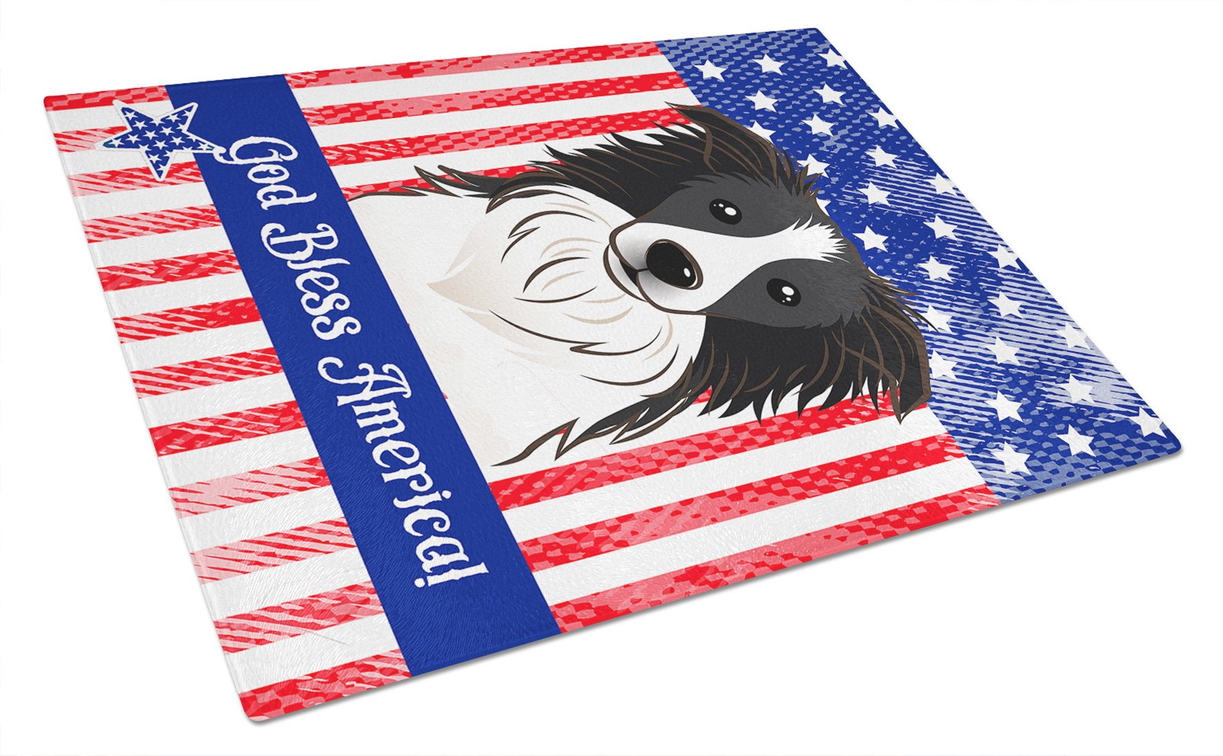 God Bless American Flag with Border Collie Glass Cutting Board Large BB2171LCB by Caroline's Treasures