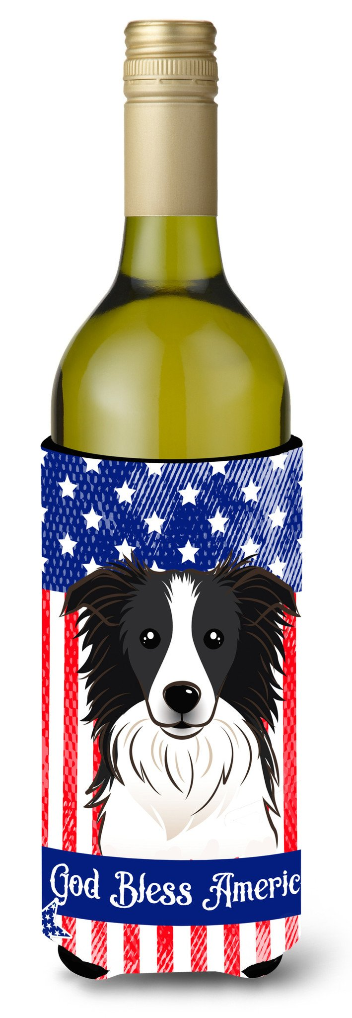God Bless American Flag with Border Collie Wine Bottle Beverage Insulator Hugger BB2171LITERK by Caroline's Treasures