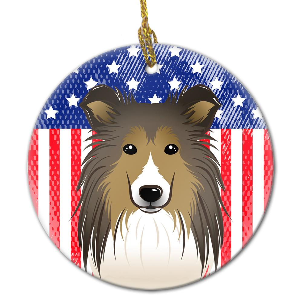 Buy this American Flag and Sheltie Ceramic Ornament BB2172CO1