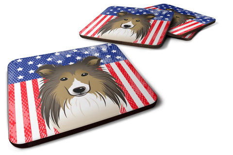 Buy this American Flag and Sheltie Foam Coaster Set of 4