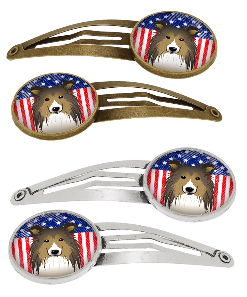 Buy this American Flag and Sheltie Set of 4 Barrettes Hair Clips BB2172HCS4