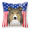 American Flag and Sheltie Fabric Decorative Pillow BB2172PW1414 - the-store.com