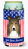 God Bless American Flag with Sheltie Tall Boy Beverage Insulator Hugger BB2172TBC by Caroline's Treasures