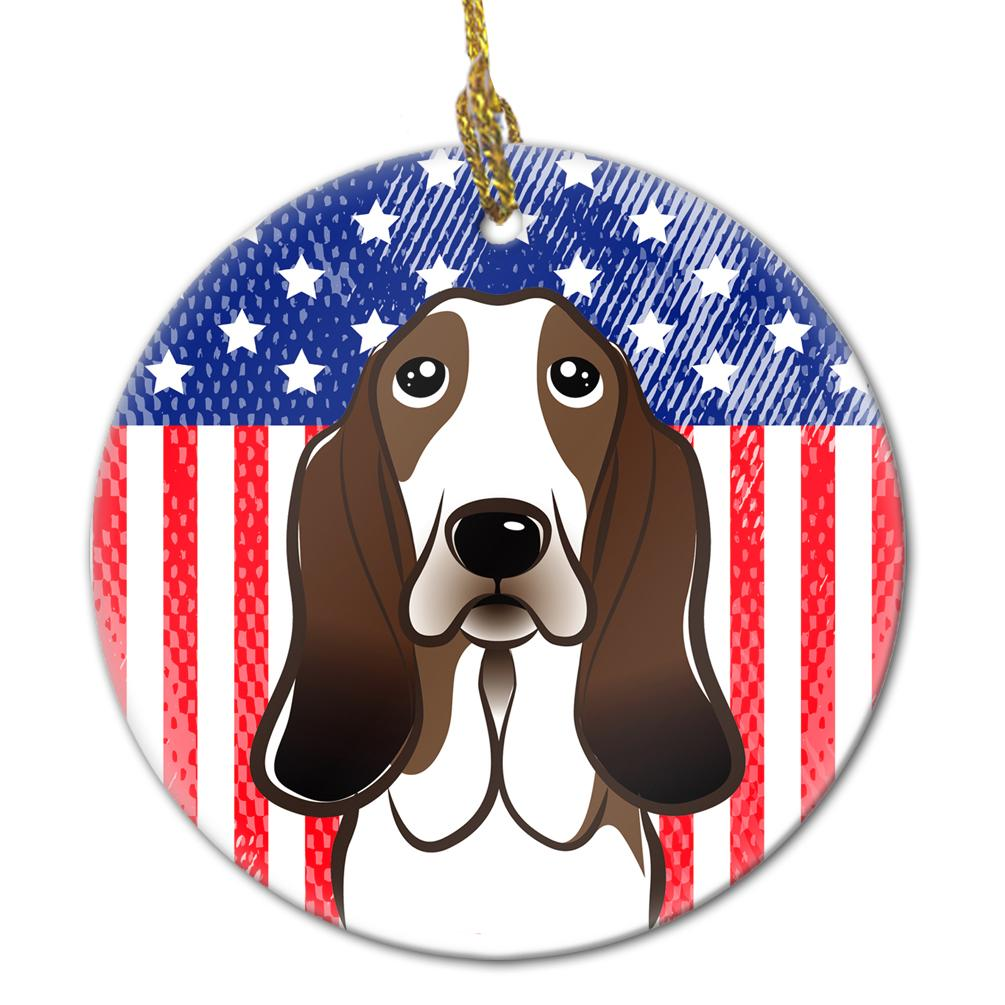 American Flag and Basset Hound Ceramic Ornament BB2173CO1 by Caroline's Treasures