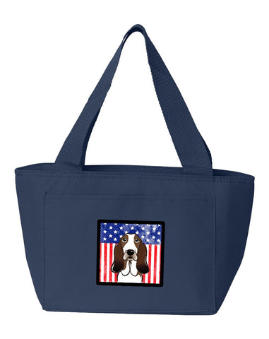 Buy this American Flag and Basset Hound Lunch Bag BB2173NA-8808