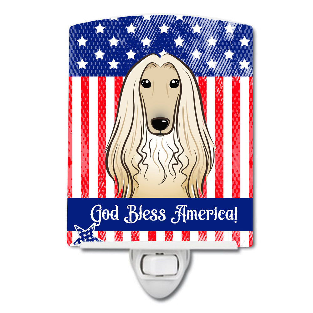 American Flag and Afghan Hound Ceramic Night Light BB2174CNL by Caroline's Treasures