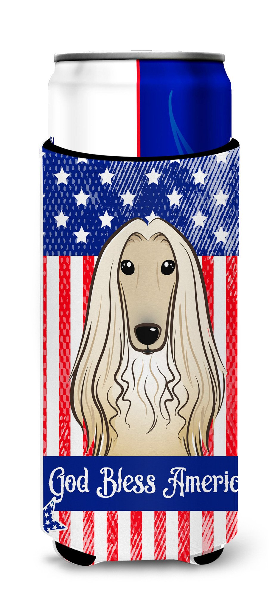 God Bless American Flag with Afghan Hound Michelob Ultra Beverage Insulator for slim cans BB2174MUK by Caroline's Treasures