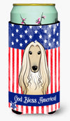 God Bless American Flag with Afghan Hound Tall Boy Beverage Insulator Hugger BB2174TBC by Caroline's Treasures
