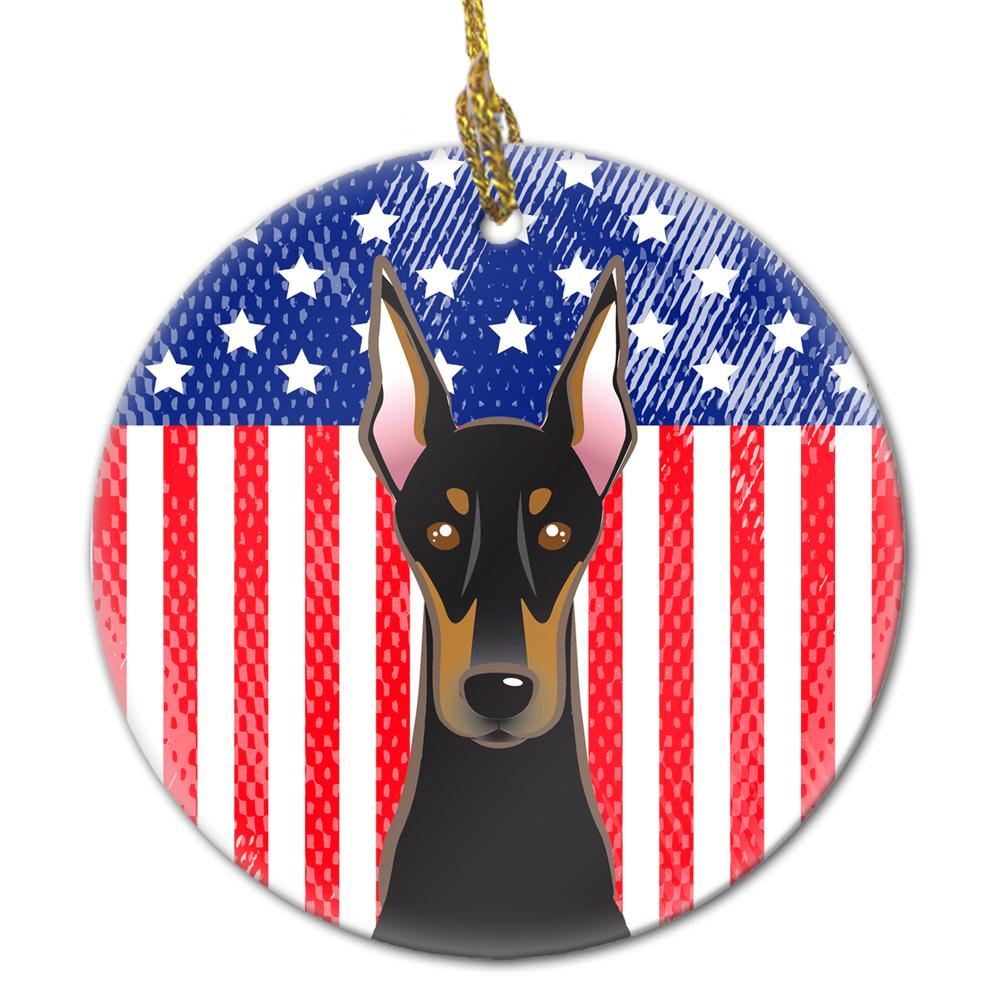 American Flag and Doberman Ceramic Ornament BB2175CO1 by Caroline's Treasures