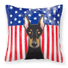 American Flag and Doberman Fabric Decorative Pillow BB2175PW1414 - the-store.com