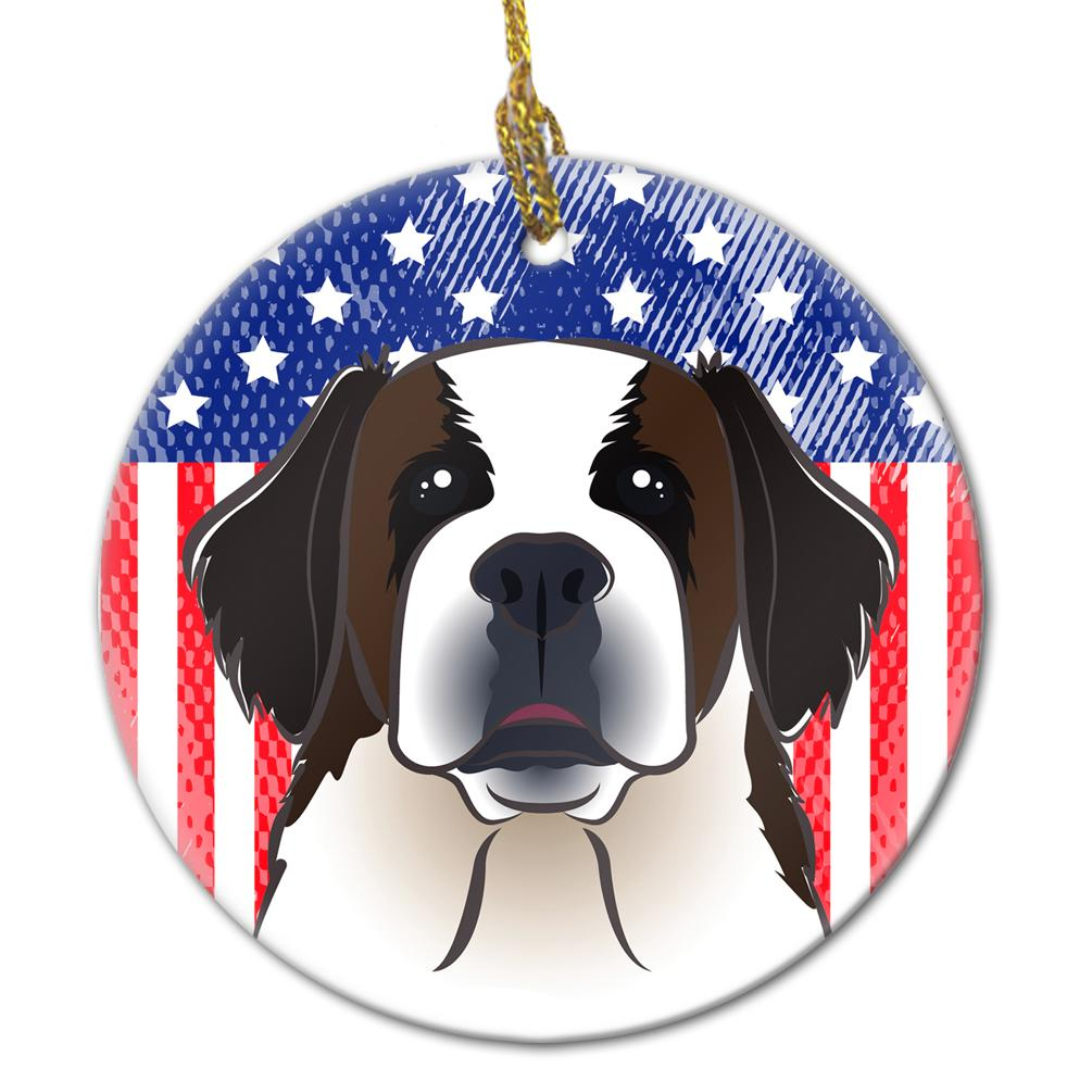 American Flag and Saint Bernard Ceramic Ornament BB2176CO1 by Caroline's Treasures