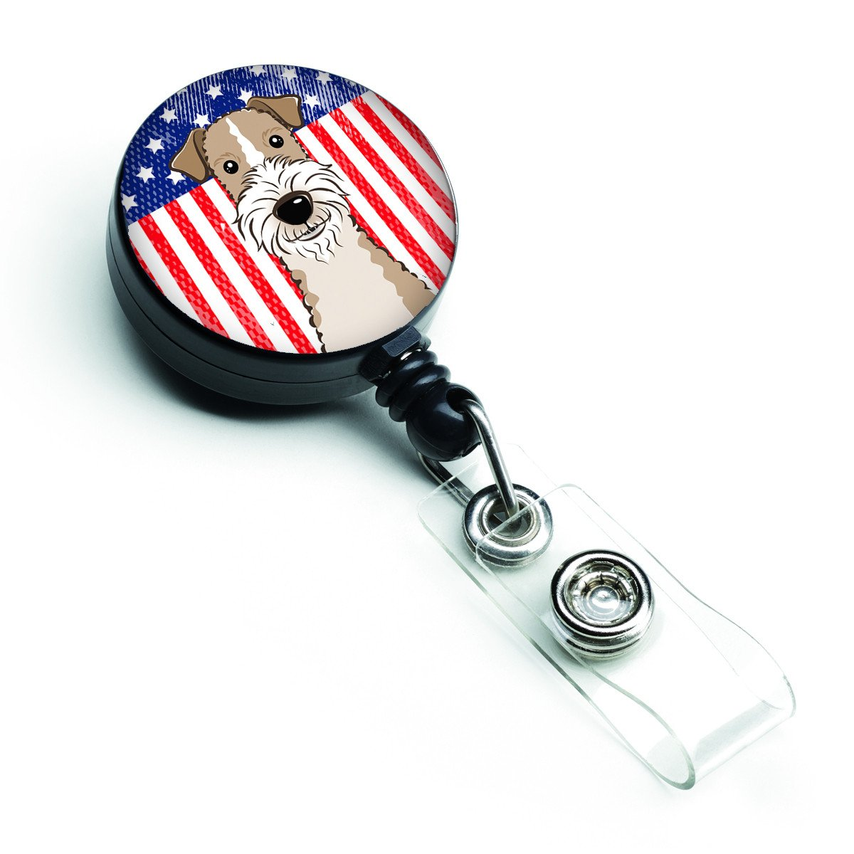 American Flag and Wire Haired Fox Terrier Retractable Badge Reel BB2177BR by Caroline's Treasures