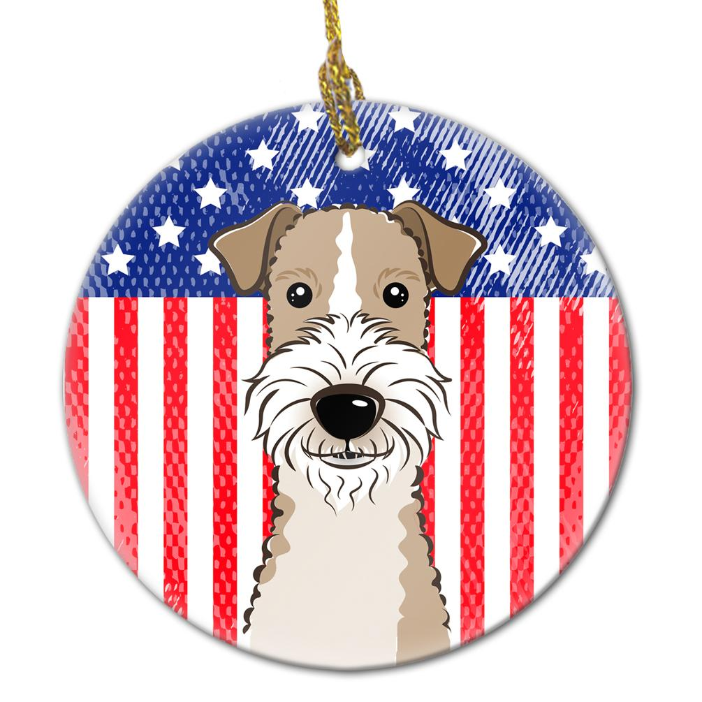 American Flag and Wire Haired Fox Terrier Ceramic Ornament BB2177CO1 by Caroline's Treasures