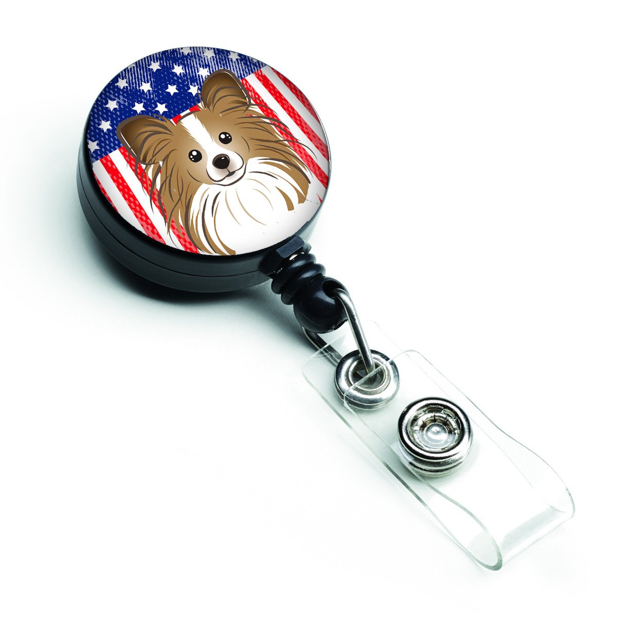 American Flag and Papillon Retractable Badge Reel BB2178BR by Caroline's Treasures