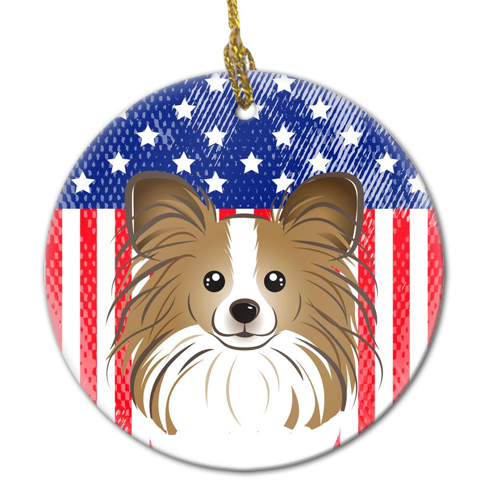 American Flag and Papillon Ceramic Ornament BB2178CO1 by Caroline's Treasures