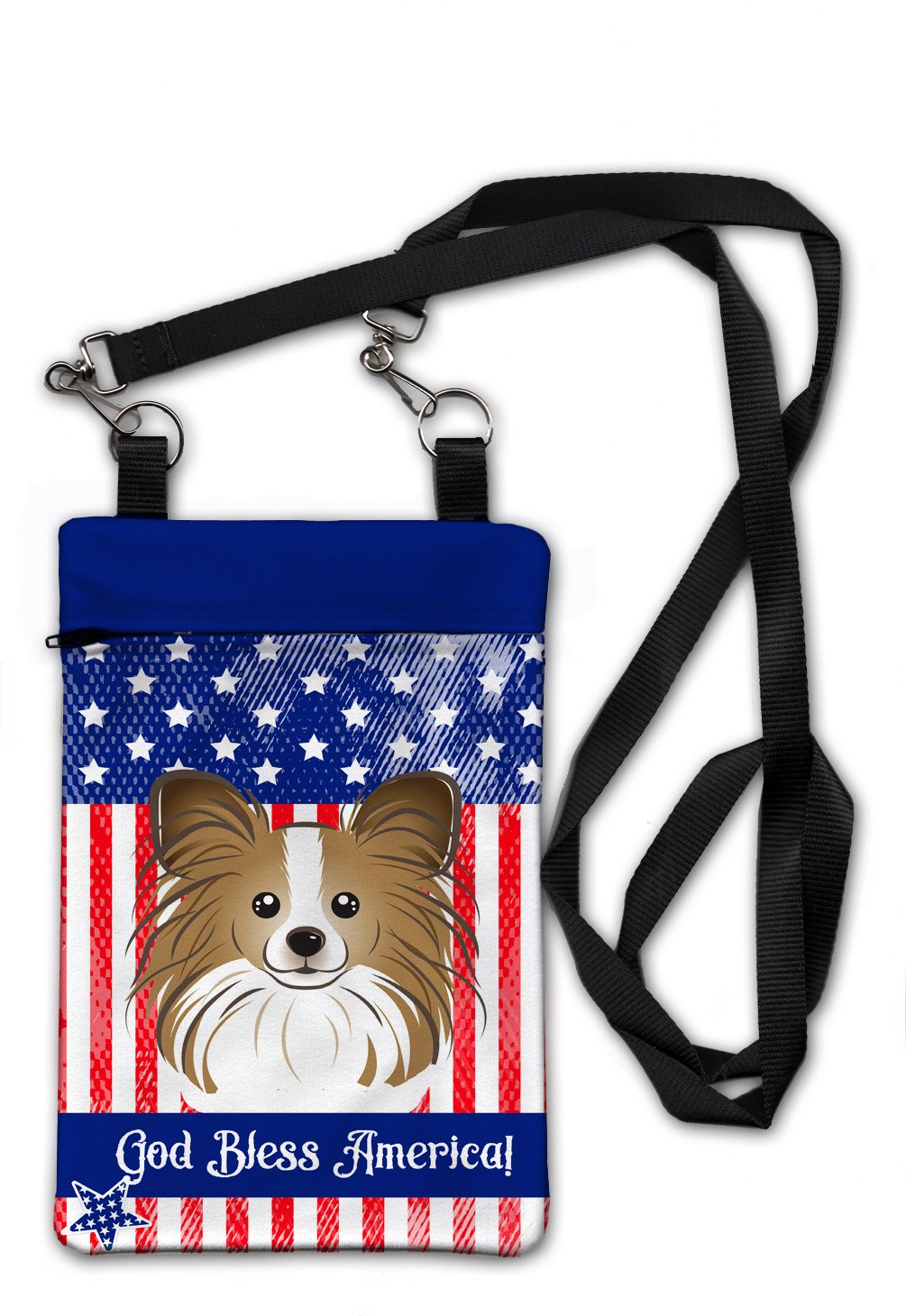 American Flag and Papillon Crossbody Bag Purse BB2178OBDY by Caroline's Treasures