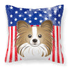 American Flag and Papillon Fabric Decorative Pillow BB2178PW1414 - the-store.com