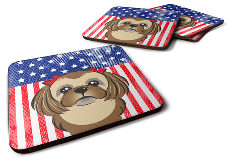 Buy this American Flag and Chocolate Brown Shih Tzu Foam Coaster Set of 4