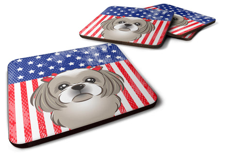 Buy this American Flag and Gray Silver Shih Tzu Foam Coaster Set of 4