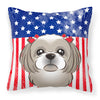 American Flag and Gray Silver Shih Tzu Fabric Decorative Pillow BB2180PW1414 - the-store.com