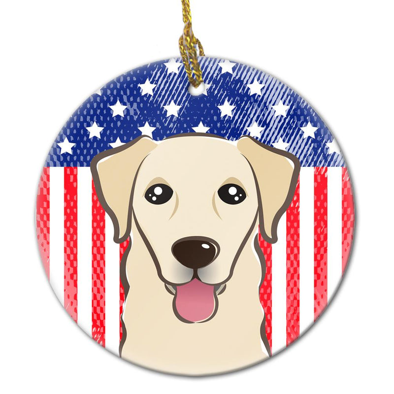 Buy this American Flag and Golden Retriever Ceramic Ornament
