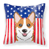 American Flag and Red Corgi Fabric Decorative Pillow BB2184PW1414 - the-store.com