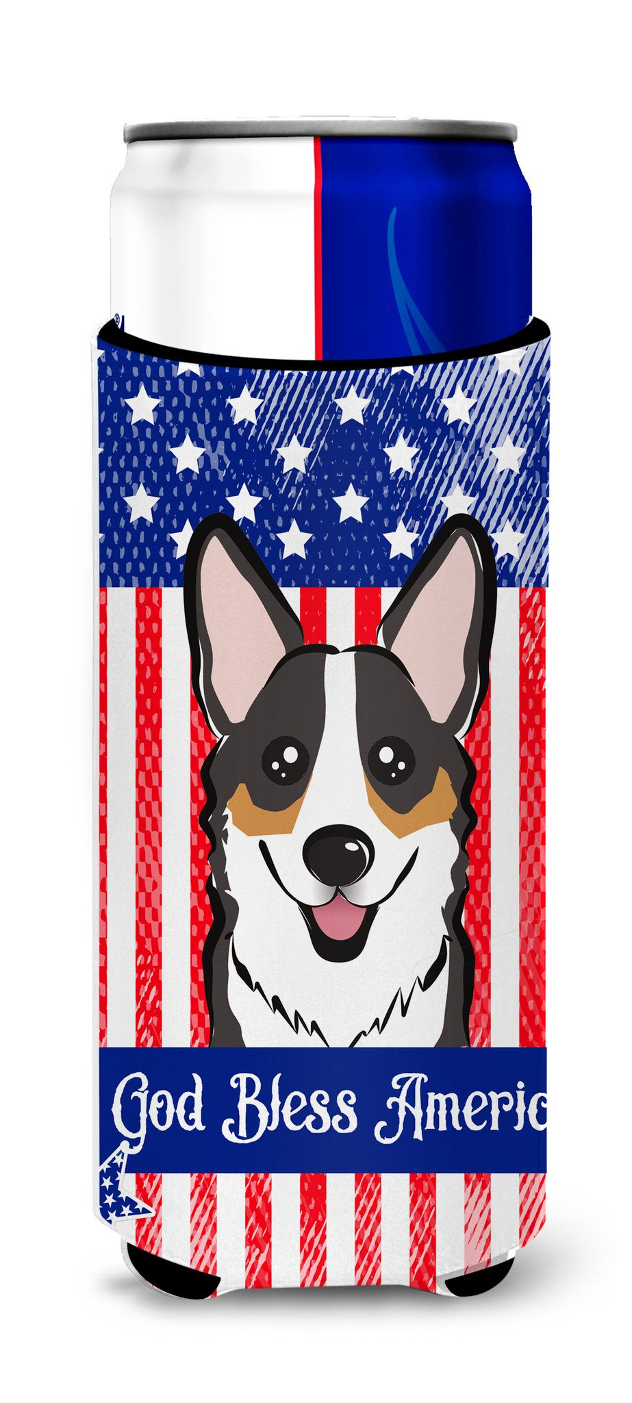 God Bless American Flag with Tricolor Corgi Michelob Ultra Beverage Insulator for slim cans BB2185MUK by Caroline's Treasures